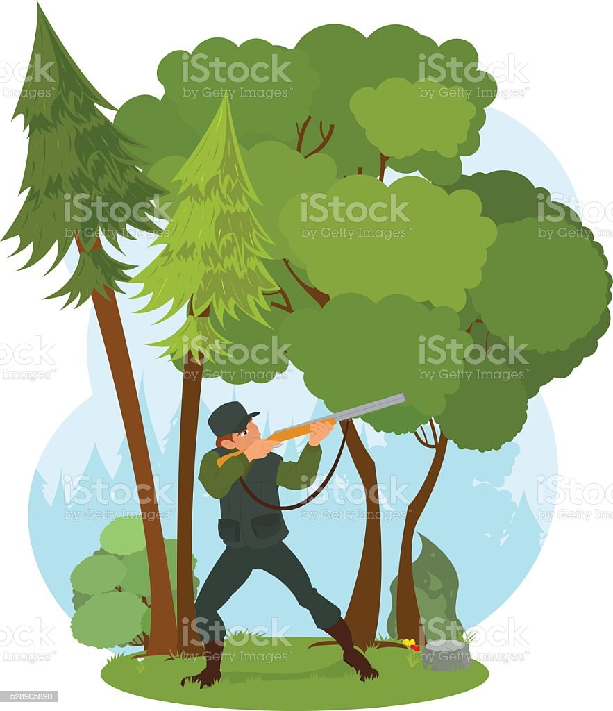 Hunter aiming a rifle in the woods vector art illustration