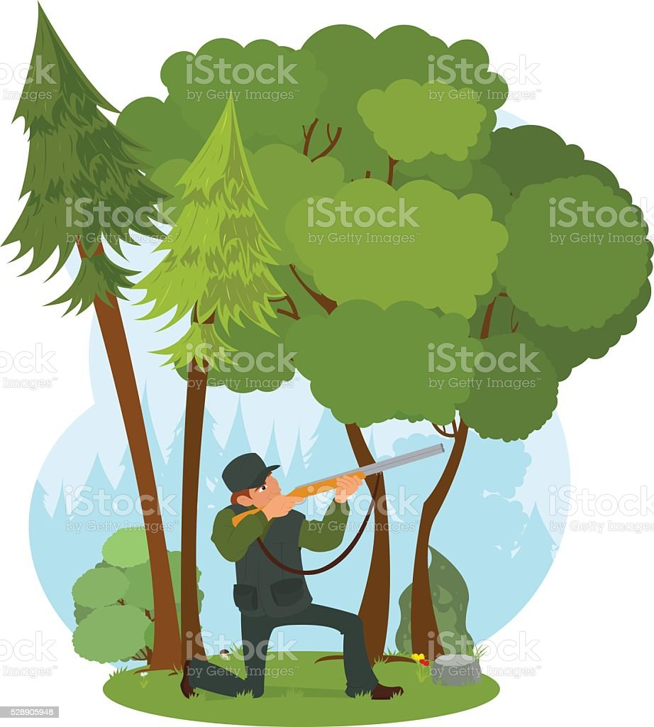 Hunter aiming a rifle in the woods. vector art illustration