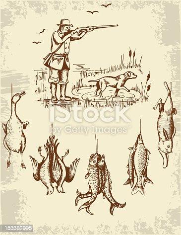 вектор охота и рыбалка
