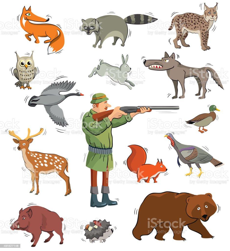 hunter and wild animals vector art illustration