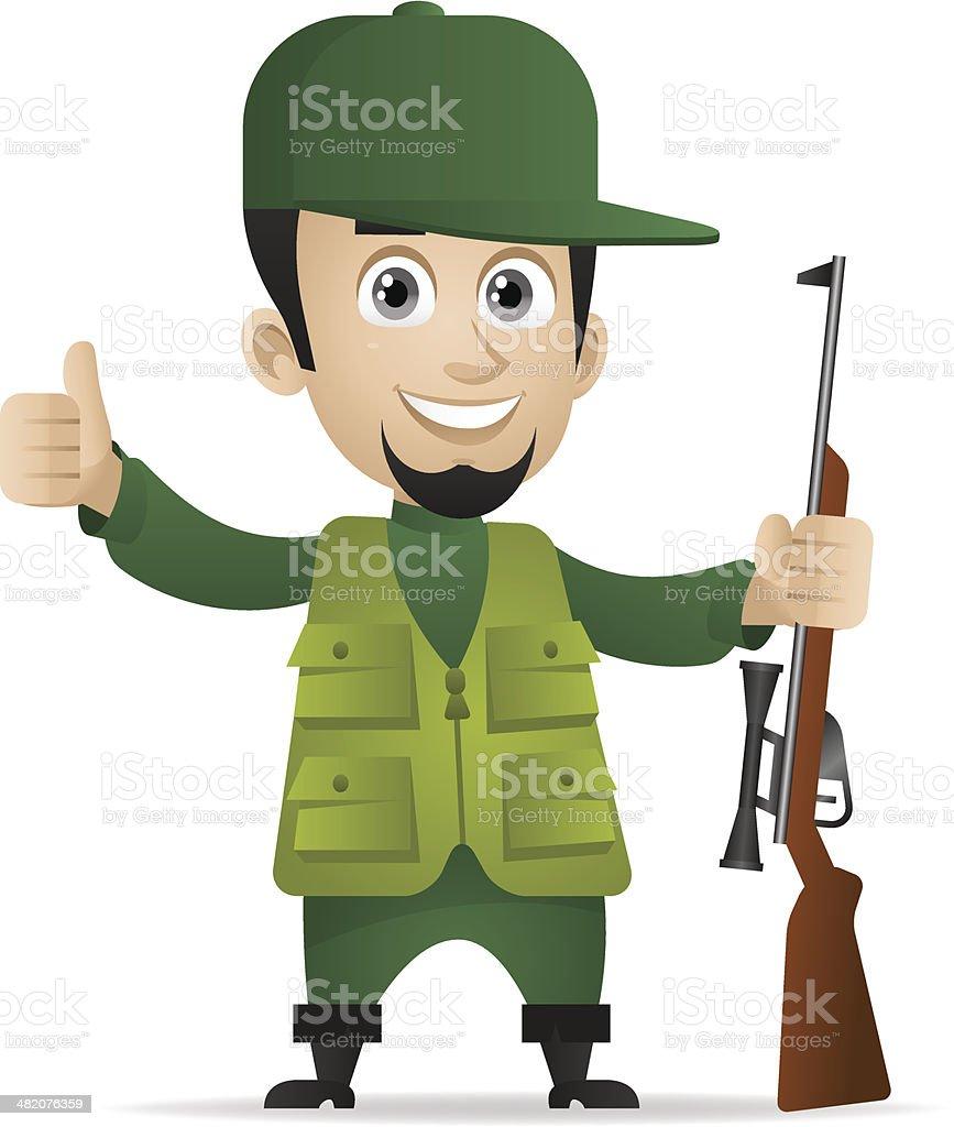 Hunter holds shotgun and showing thumbs up vector art illustration