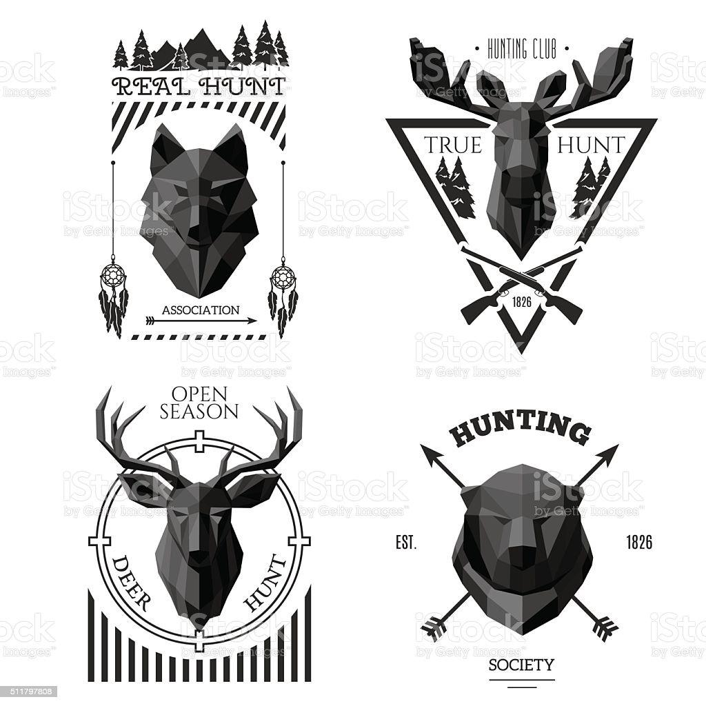 hunter socirty wolf vector art illustration