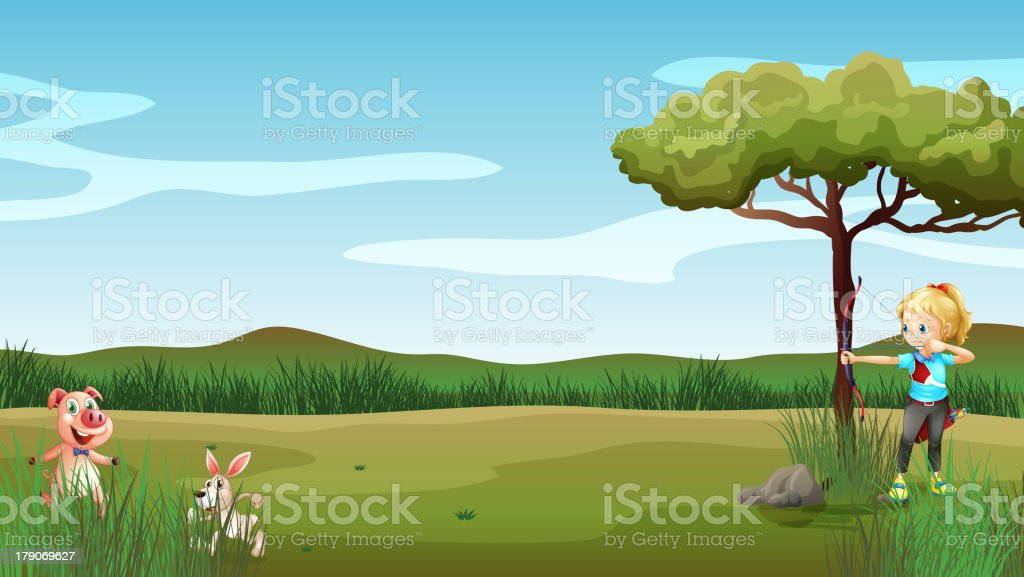 hunter targetting  rabbit and the pig royalty-free stock vector art