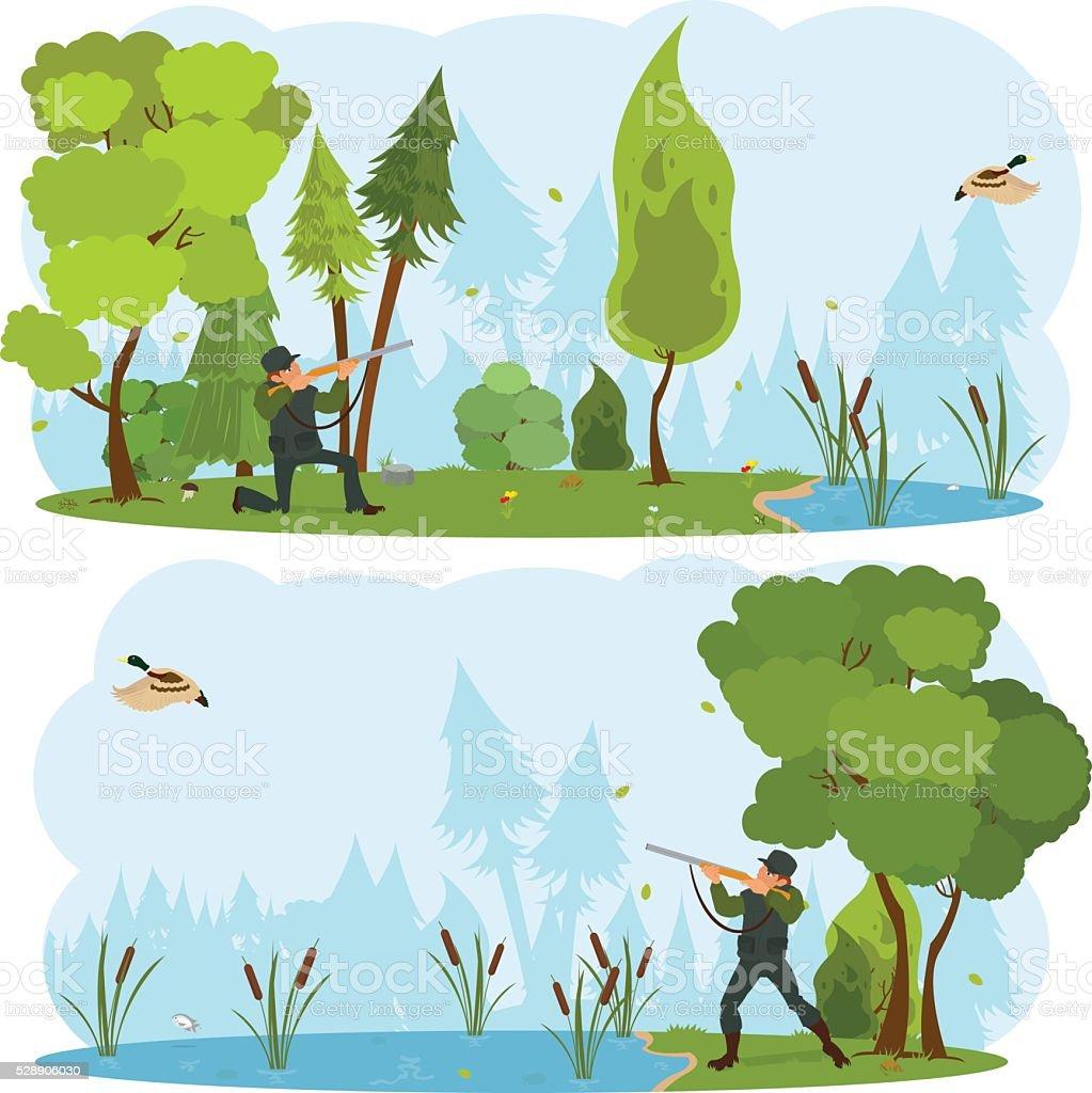 hunter with gun on a duck hunt. vector art illustration