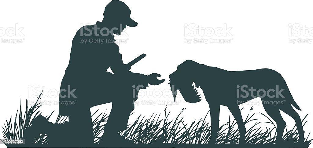 Hunter with Retriever vector art illustration