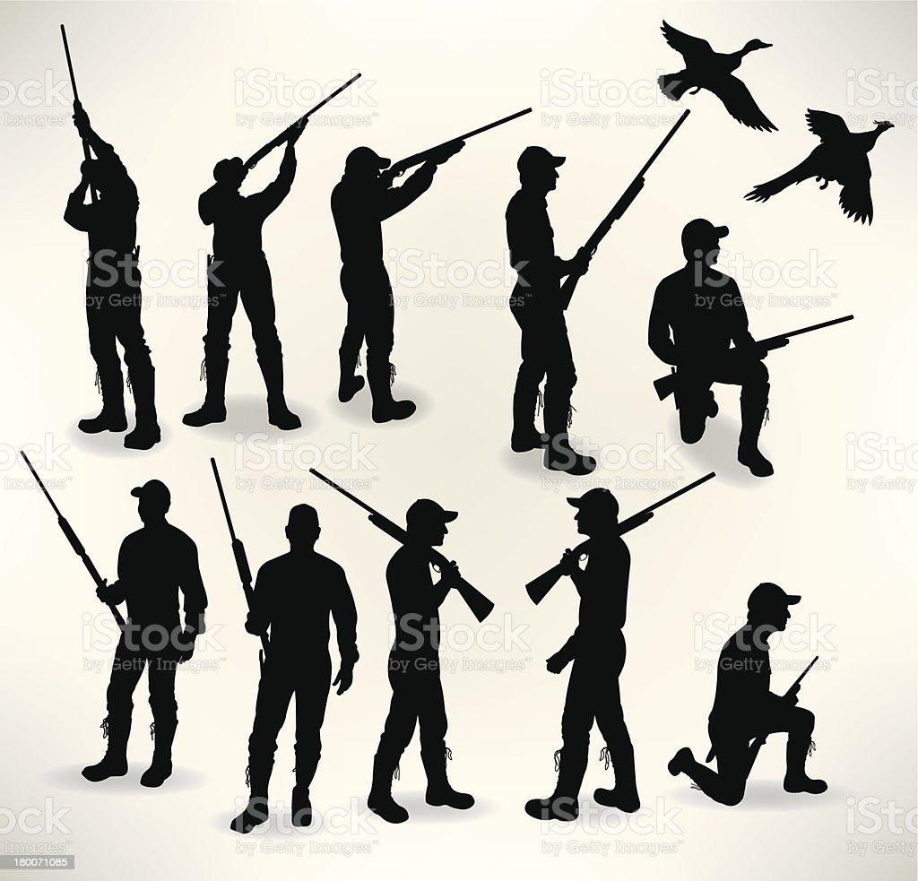 Hunters - Duck and Pheasant vector art illustration