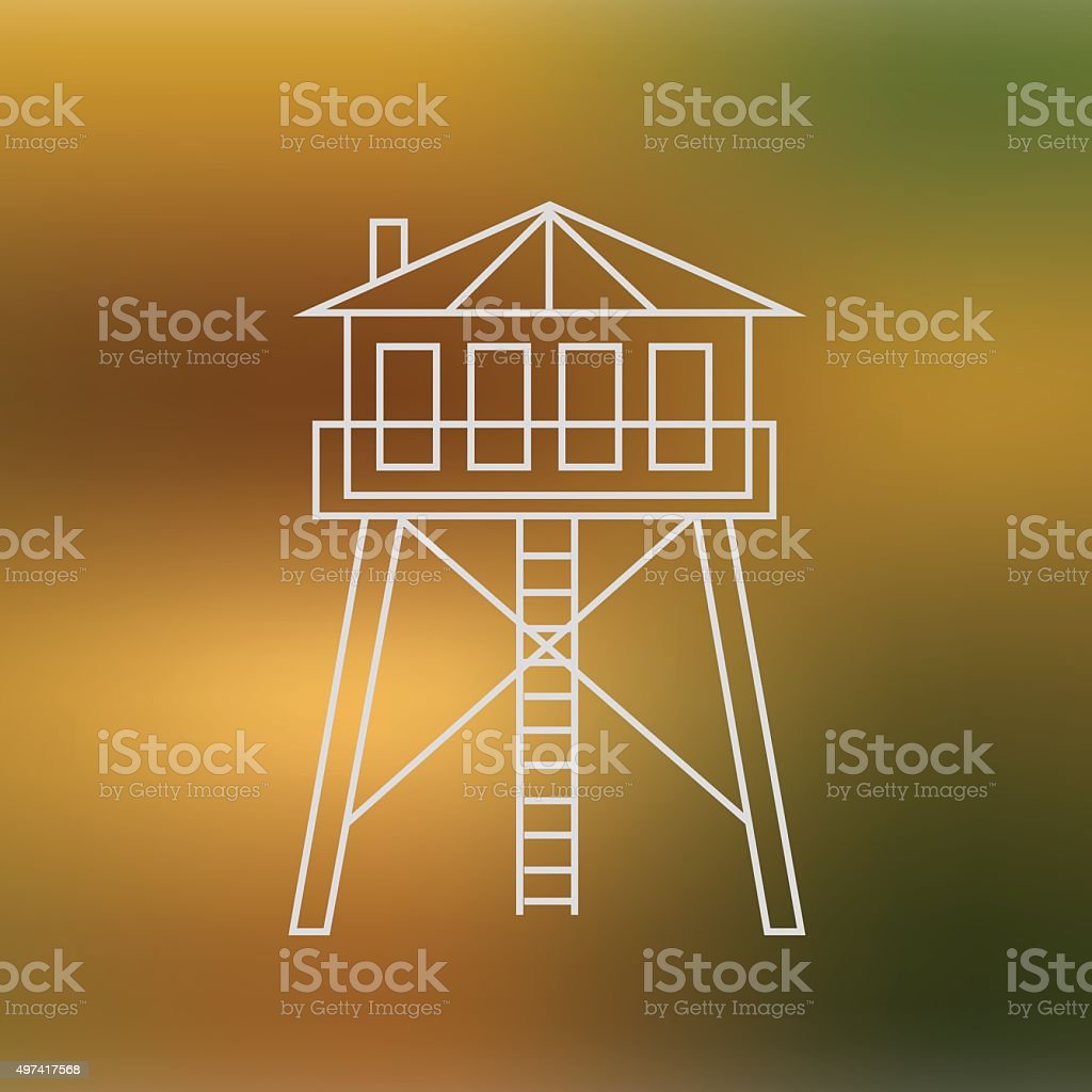 Hunter`s house isolated on soft blured background royalty-free stock vector art
