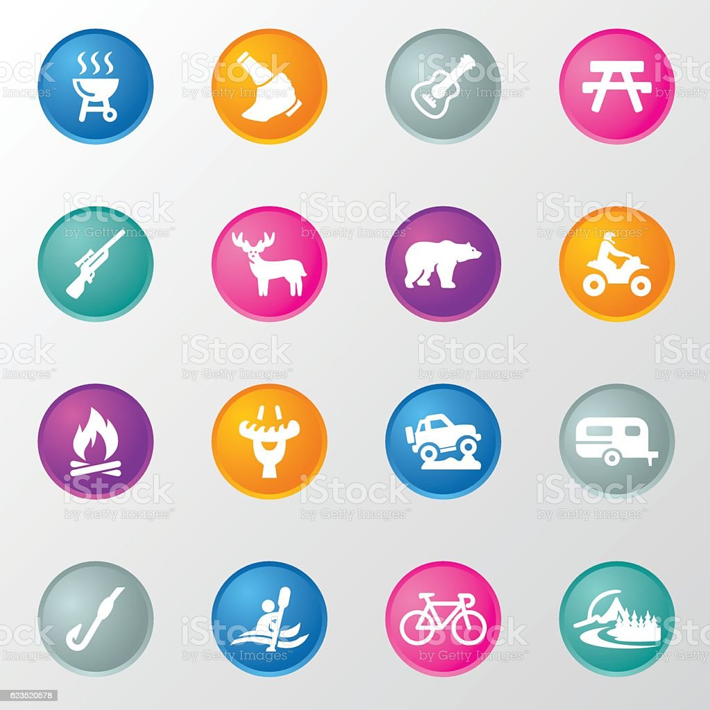 Hunting and Camping Circle Color Icons vector art illustration