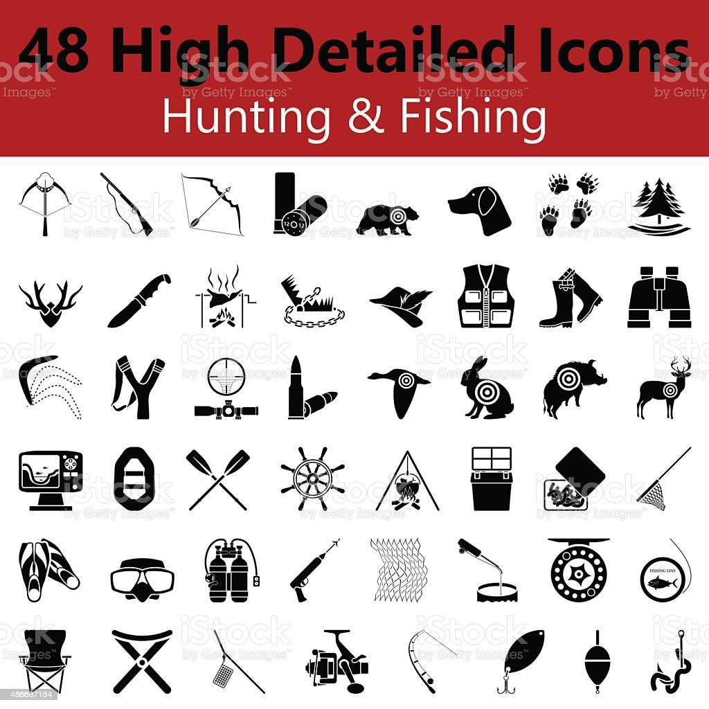 Hunting and Fishing Smooth Icons vector art illustration
