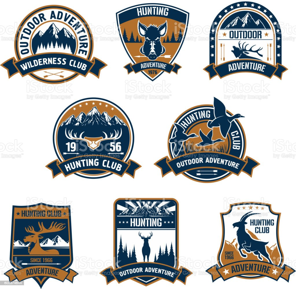 Hunting club icons. Outdoor adventure emblems vector art illustration
