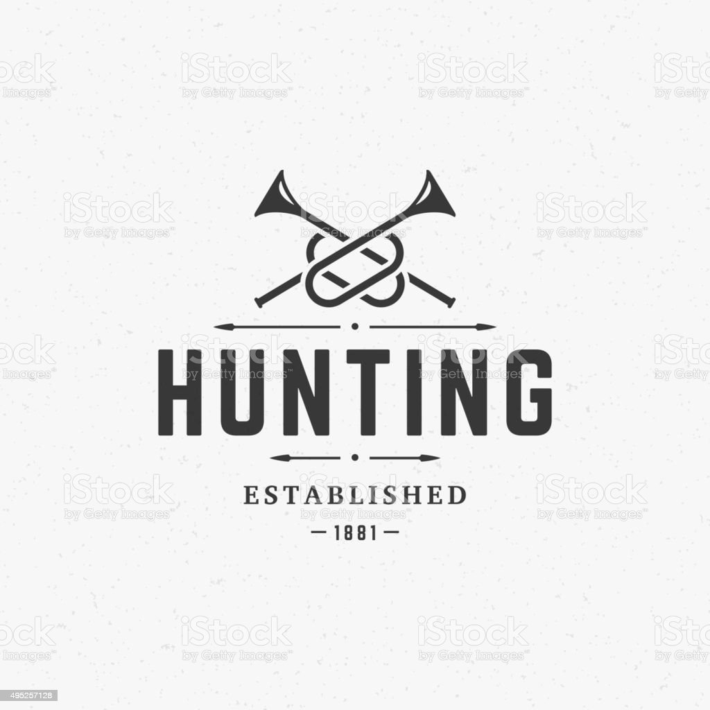 Hunting Club Vintage Logo Template Emblem. Cross Bugle Horns Silhouette vector art illustration