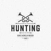 Hunting Club Vintage Logo Template Emblem. Cross Bugle Horns Silhouette