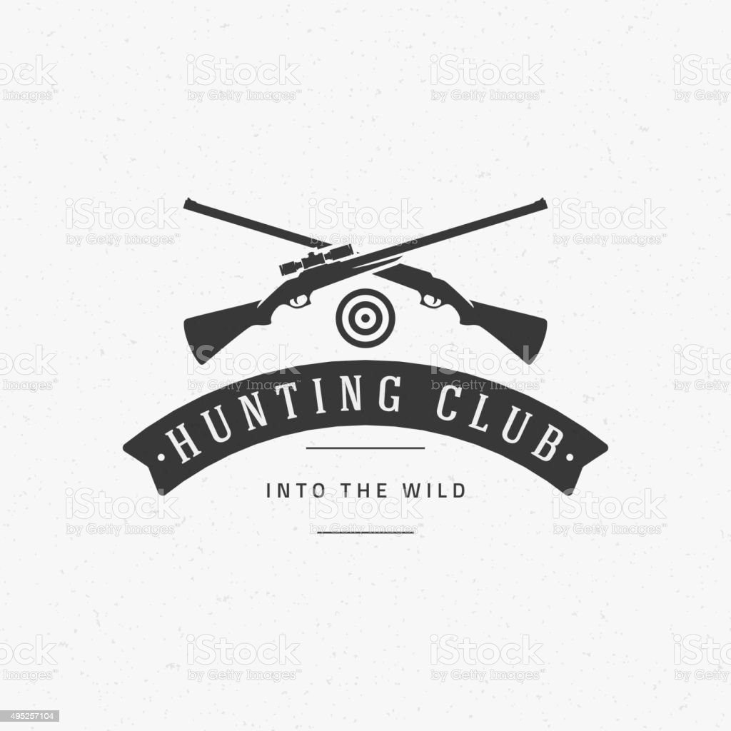Hunting Club Vintage Logo Template Emblem. Cross Guns and Target vector art illustration