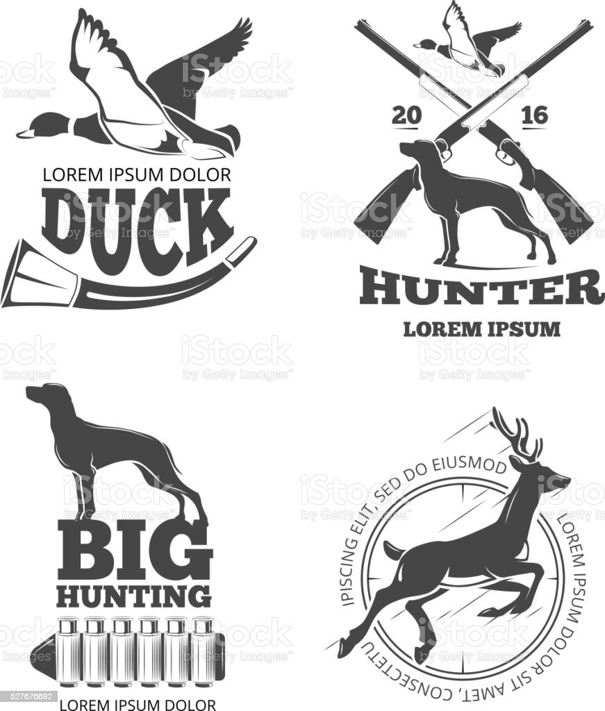 Hunting club vintage vector labels, emblems, logos, badges set vector art illustration