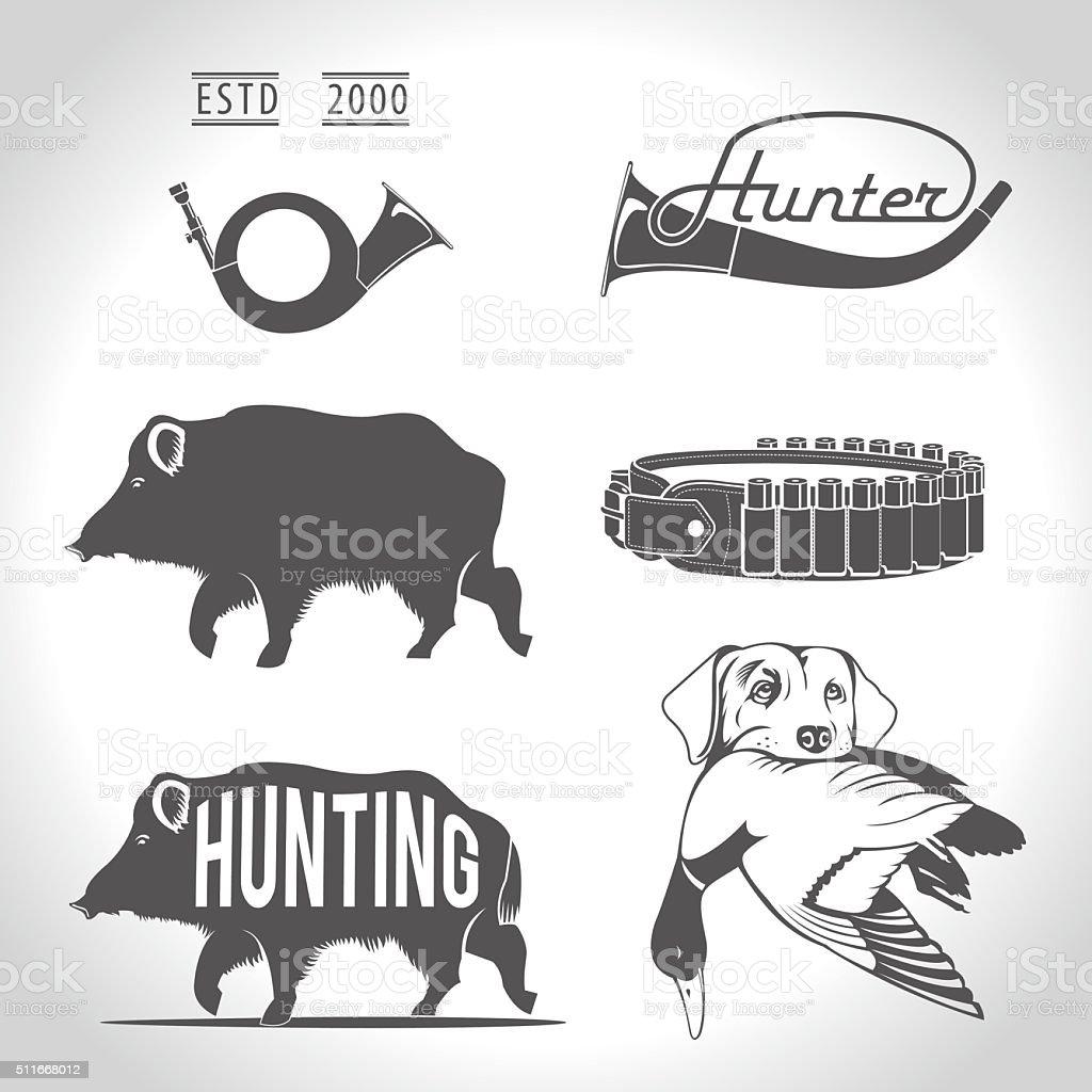 Hunting, design elements. vector art illustration