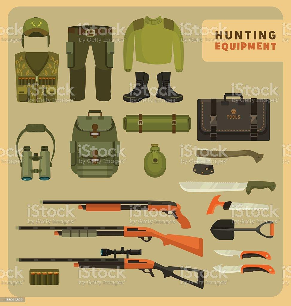 Hunting equipment vector art illustration