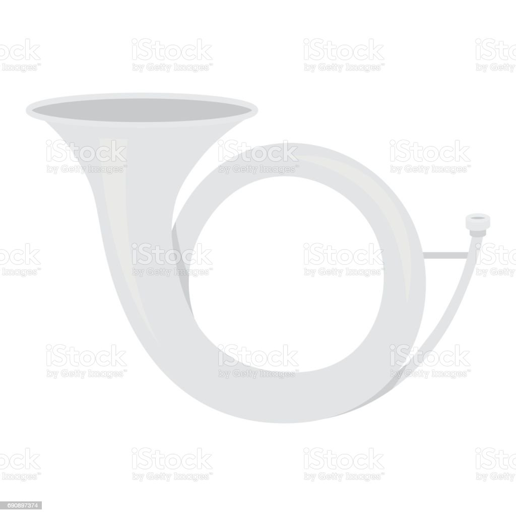 Hunting horn icon in monochrome style isolated on white background. Hunting symbol stock vector illustration. vector art illustration