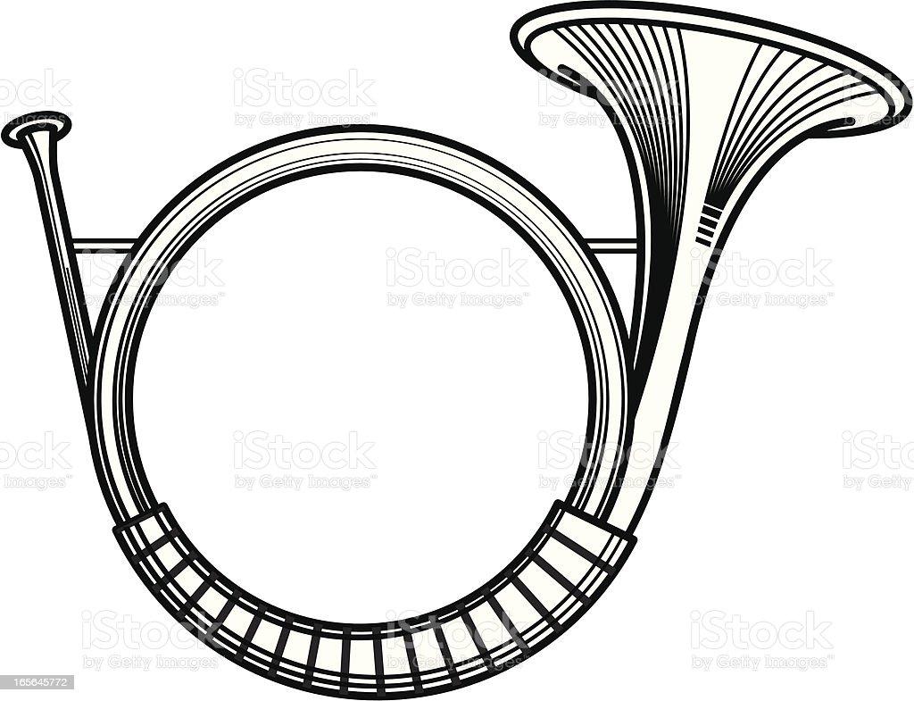 Hunting Horn vector art illustration