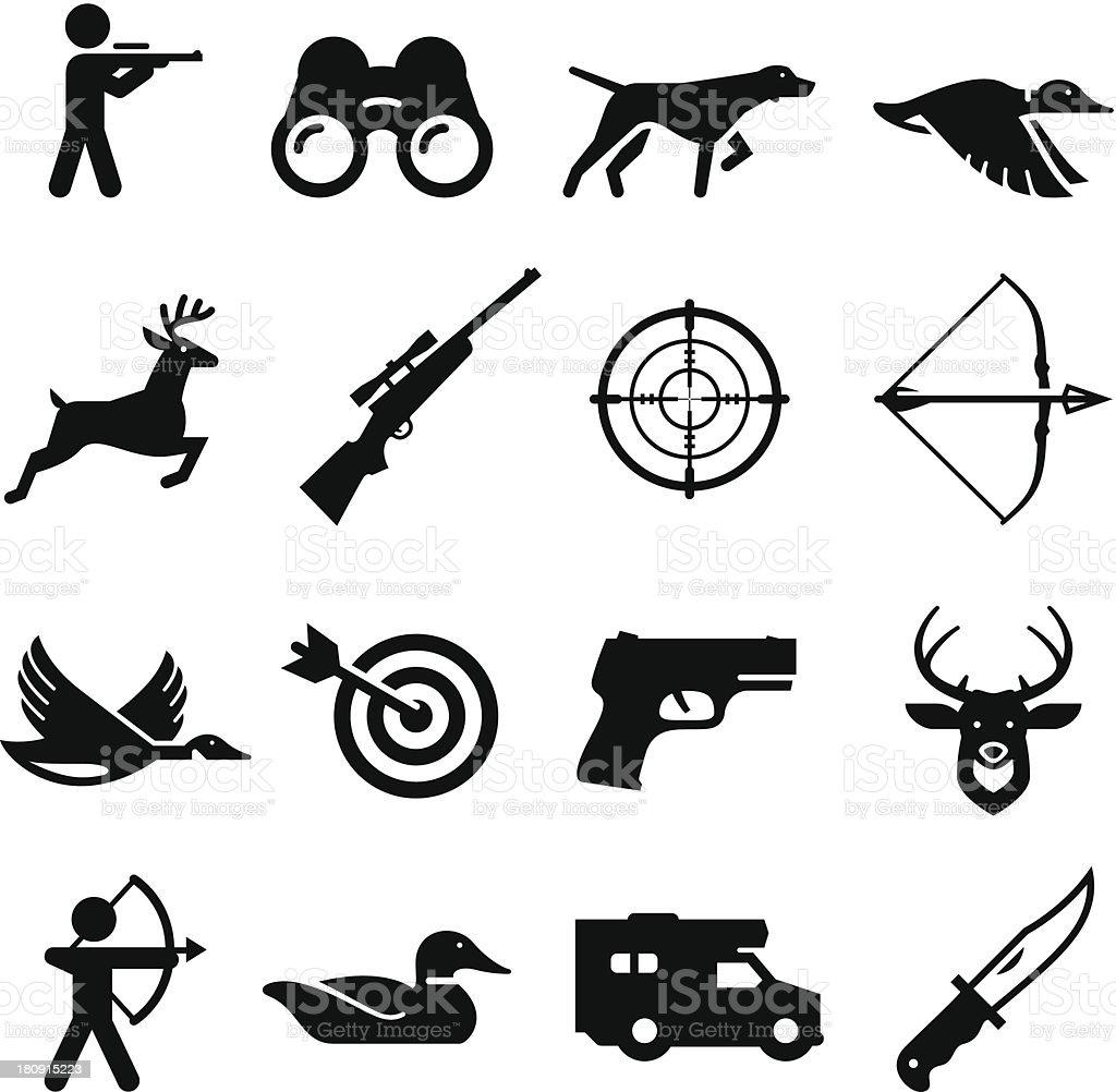 Hunting Icons - Black Series vector art illustration