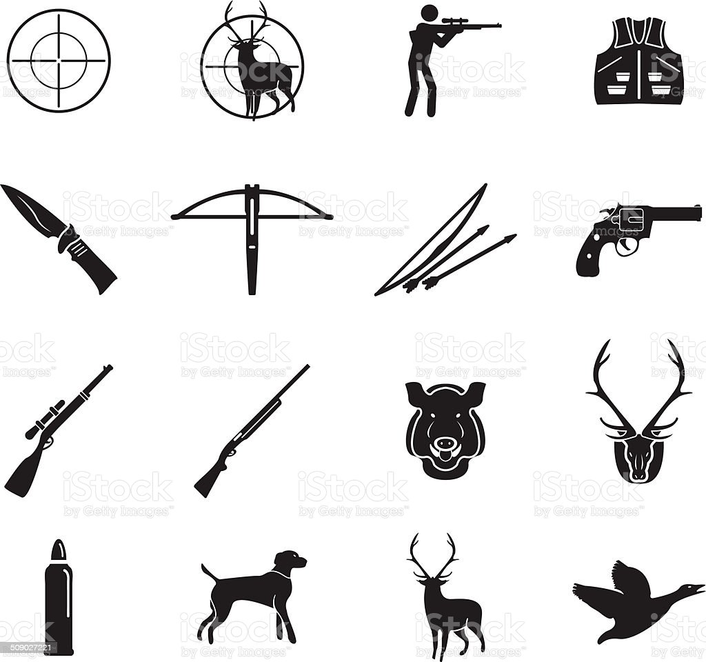 Hunting icons set vector art illustration