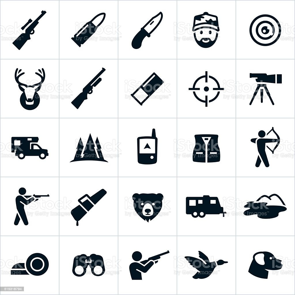 Hunting Icons vector art illustration