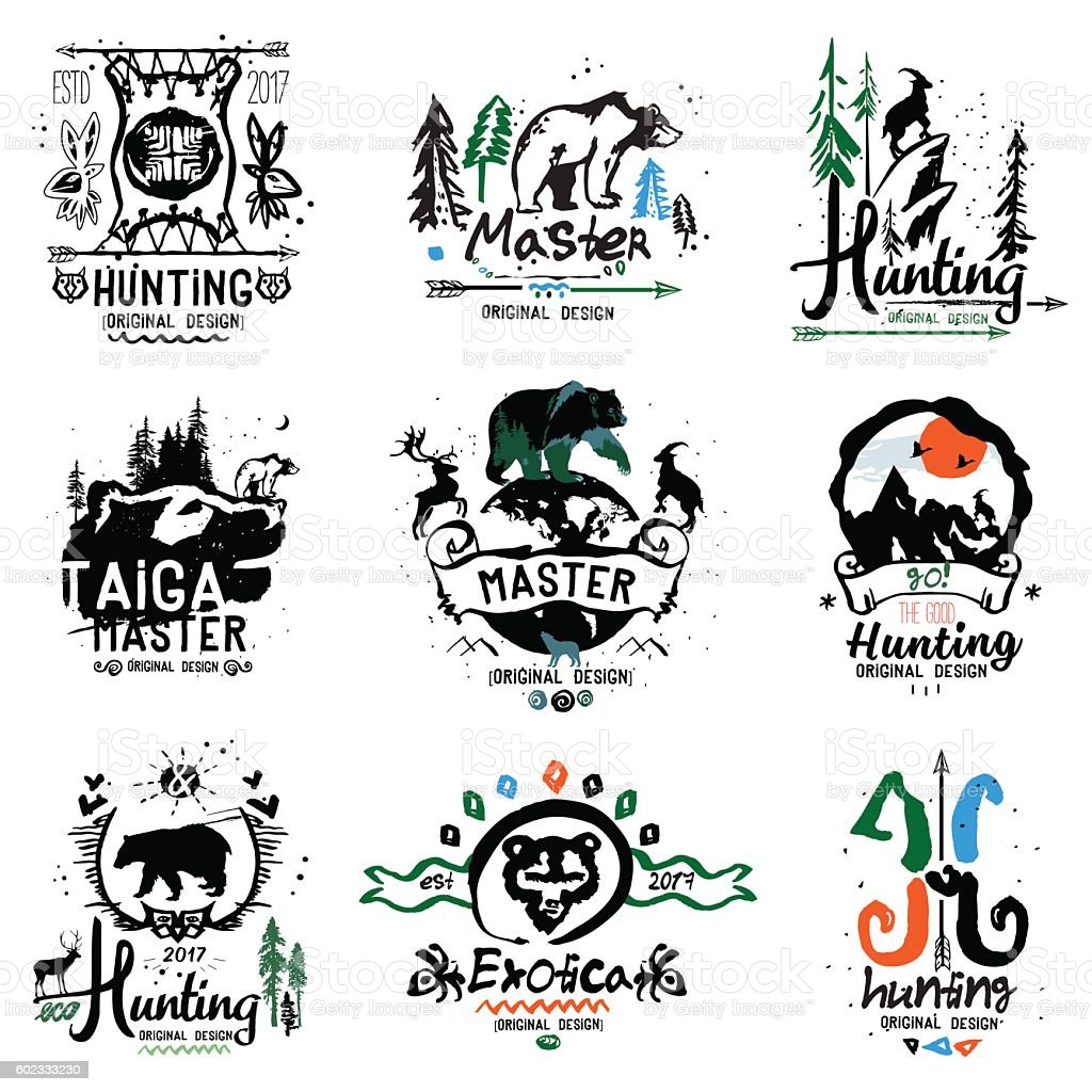 Hunting illustrations. vector art illustration