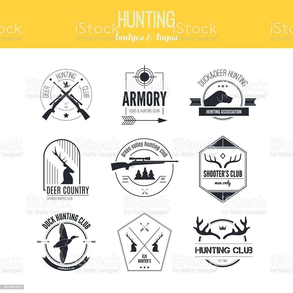 Hunting Logos vector art illustration