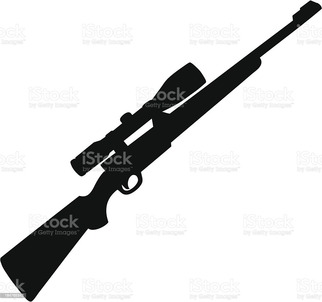 Hunting Rifle Silhouette vector art illustration