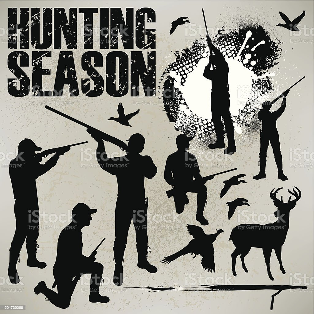 Hunting Season - Duck, Deer and Phesant Hunters vector art illustration