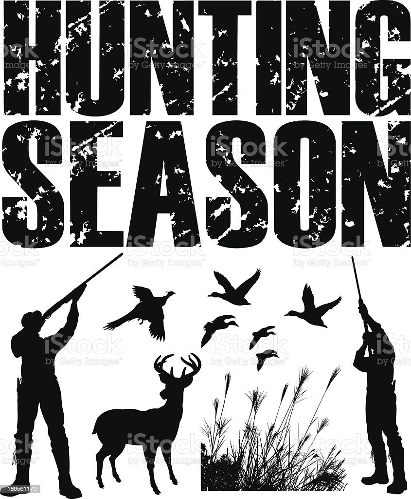 Hunting Season - Duck, Pheasant, Deer, Hunter vector art illustration