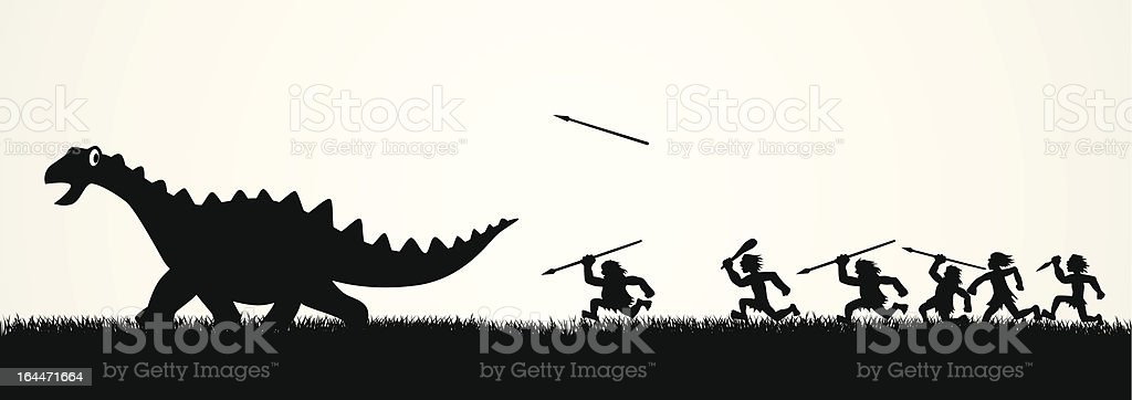 Hunting The Dinosaur royalty-free stock vector art