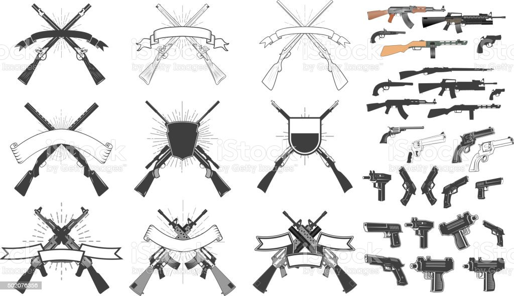 hunting weapon labels vector art illustration