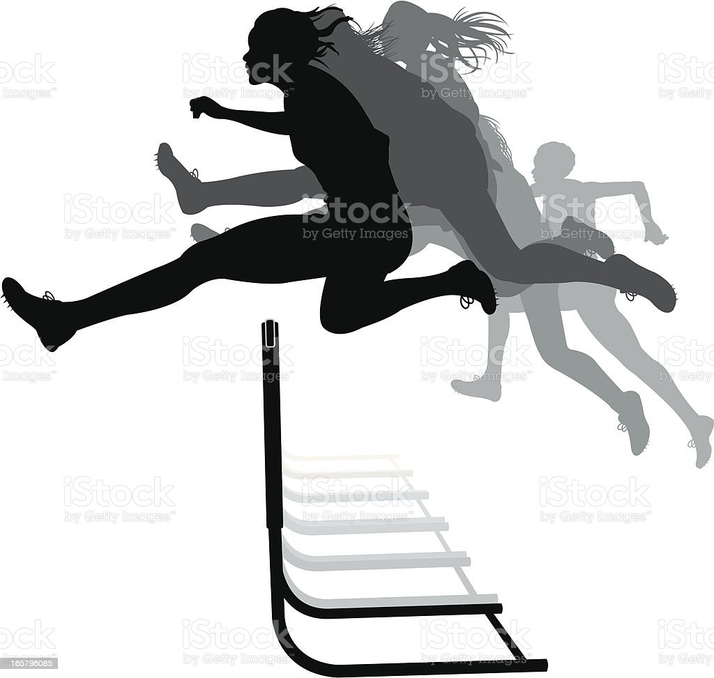 Hurdler Hurdles Race - Track Meet, Female vector art illustration