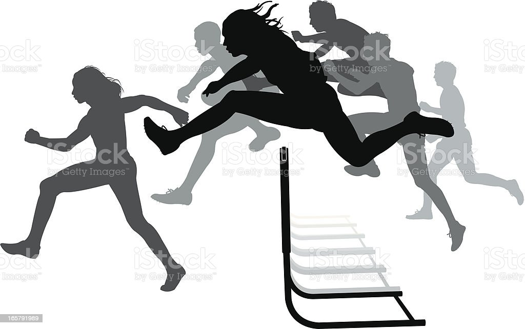 Hurdlers - Male Race, Track Meet vector art illustration