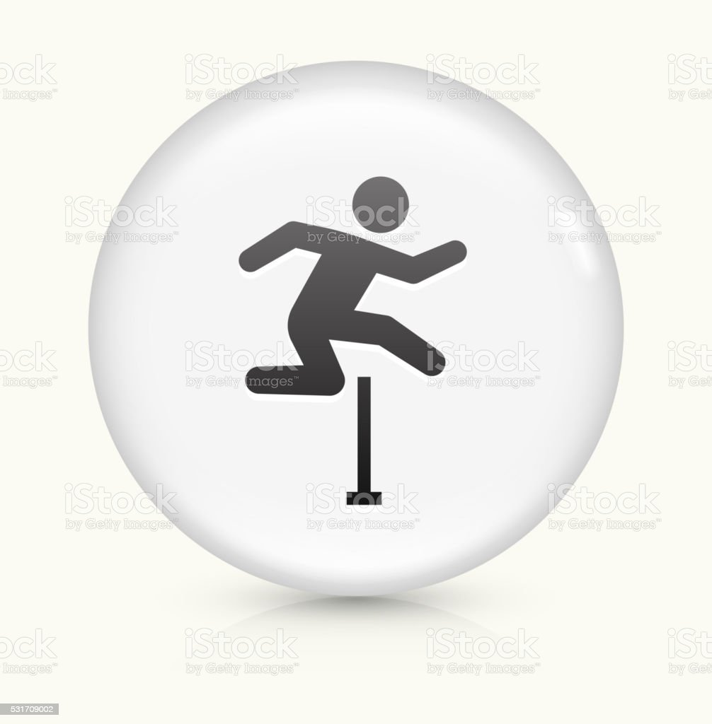 Hurdles icon on white round vector button vector art illustration