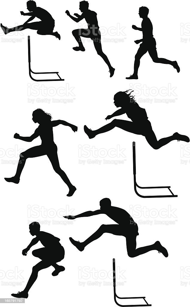 Hurdles Race - Male Hurdlers vector art illustration