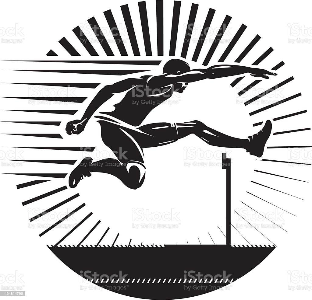 Hurdling. vector art illustration