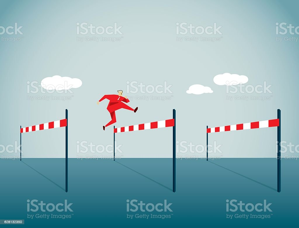 Hurdling vector art illustration