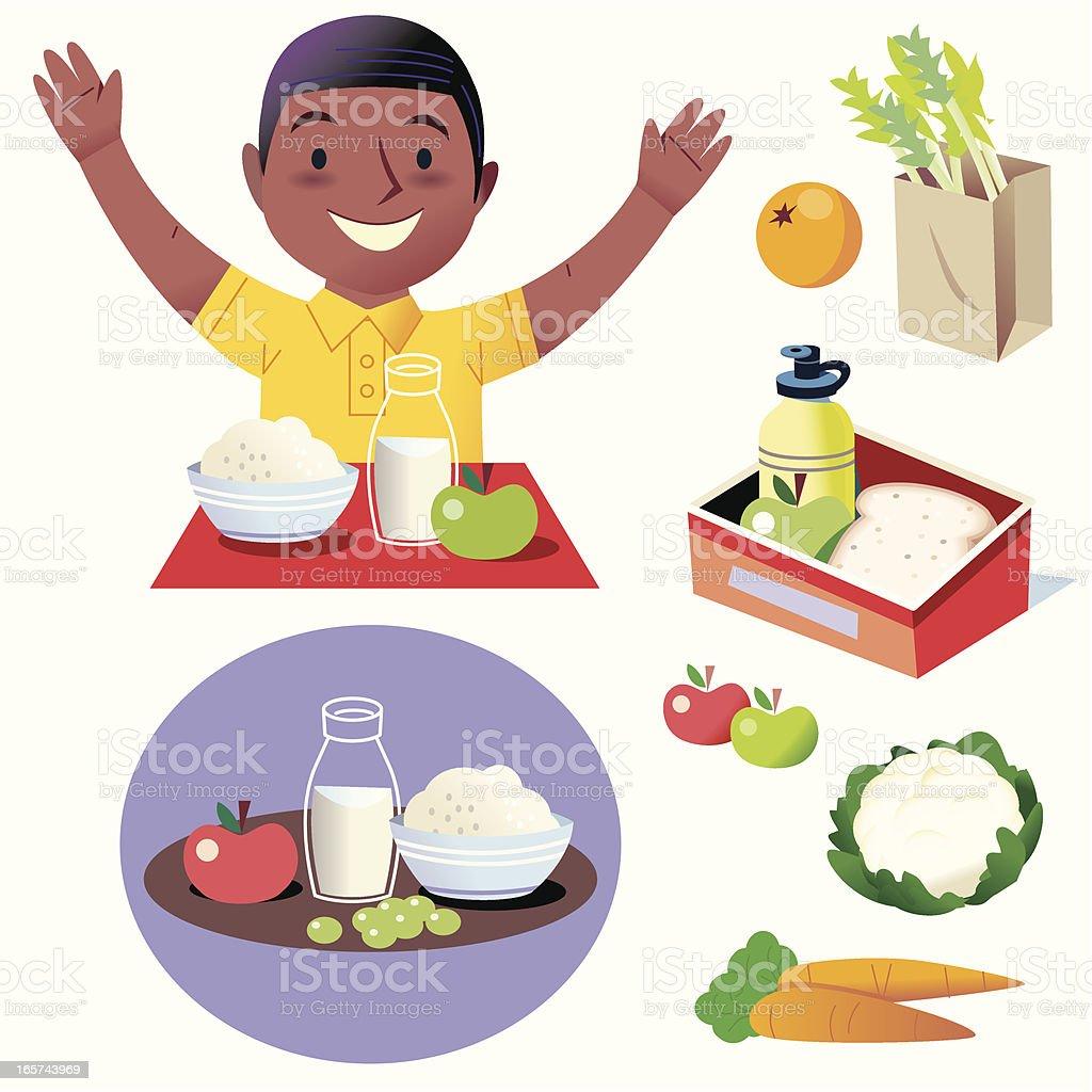 Hurray for Healthy food! vector art illustration