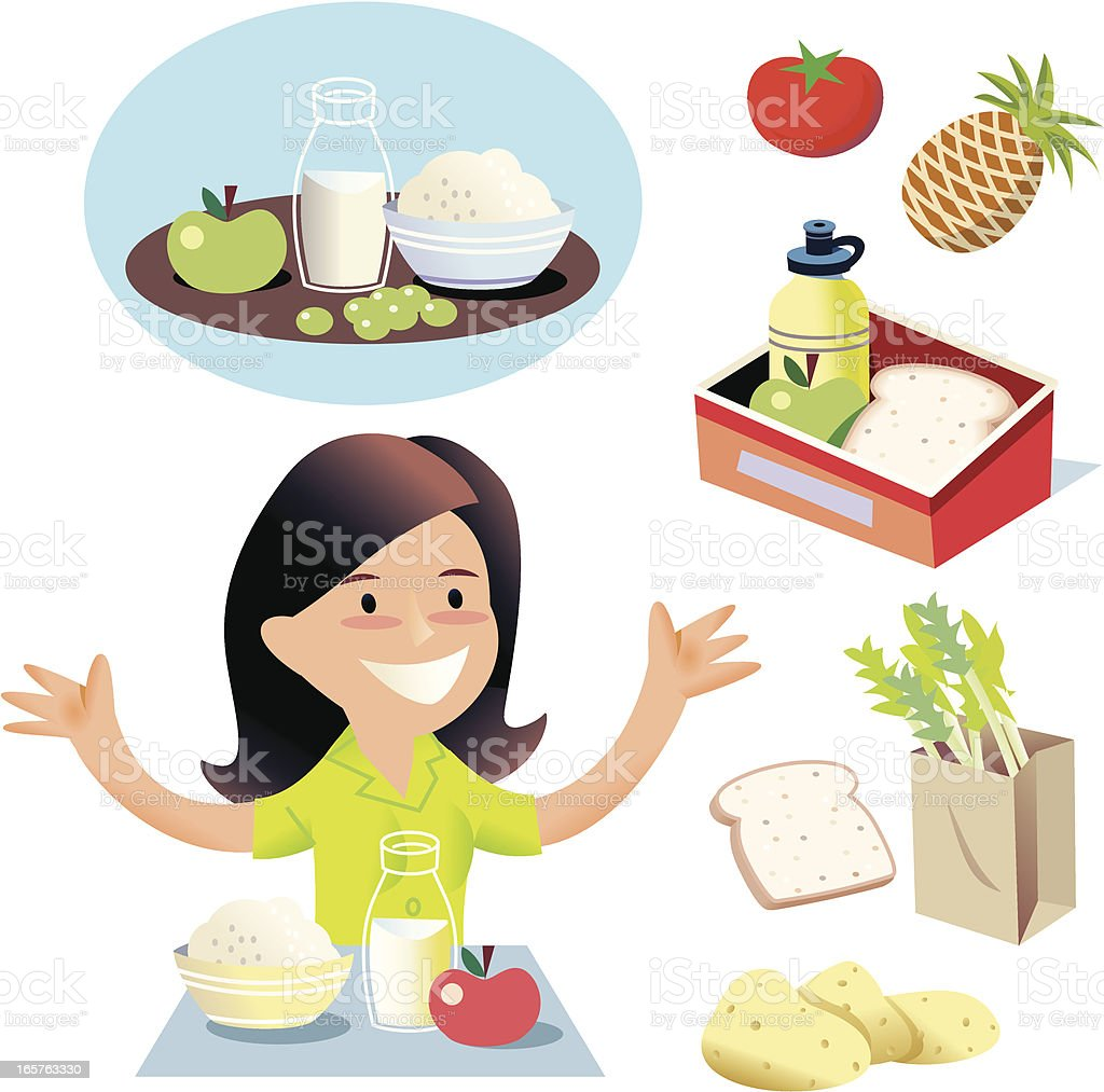 Hurray for simple food! vector art illustration