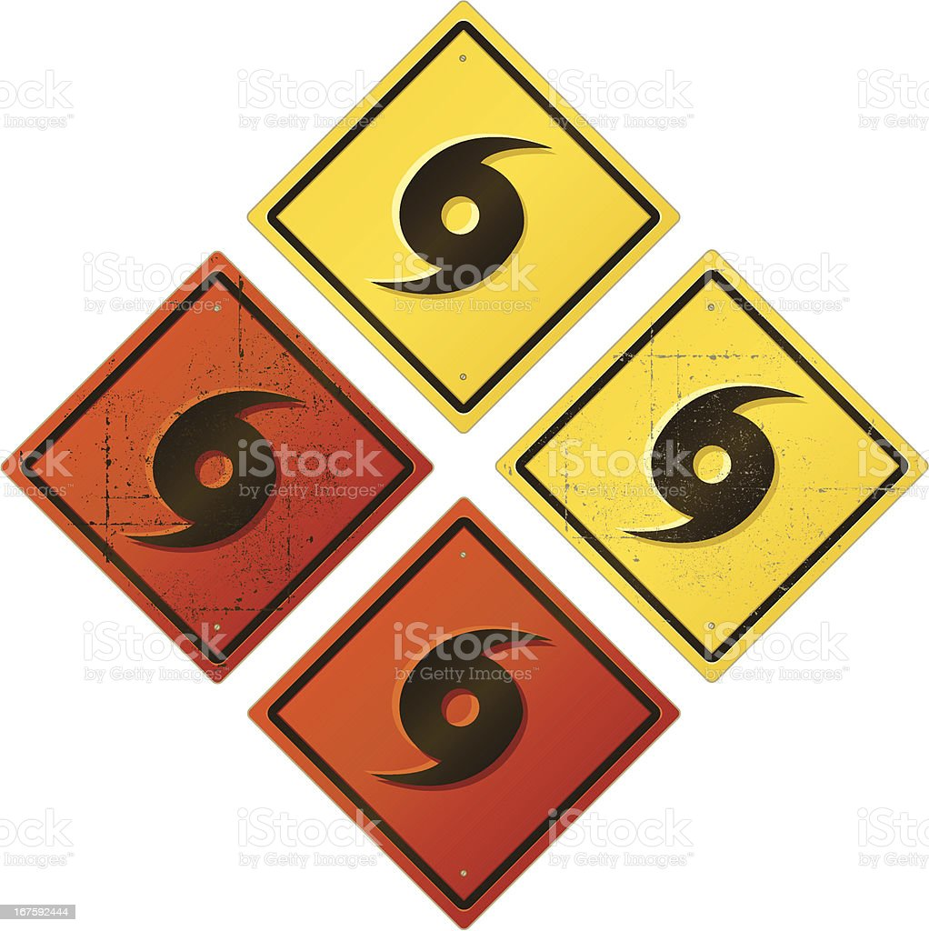 Hurricane Warning Sign vector art illustration