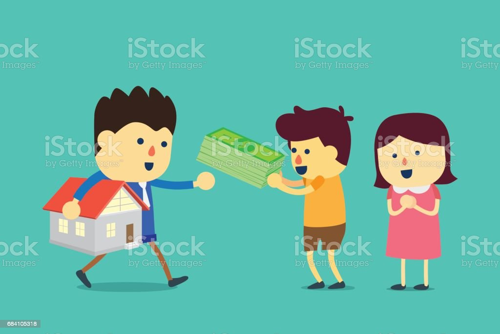 Husband and wife buying a home with cash. vector art illustration
