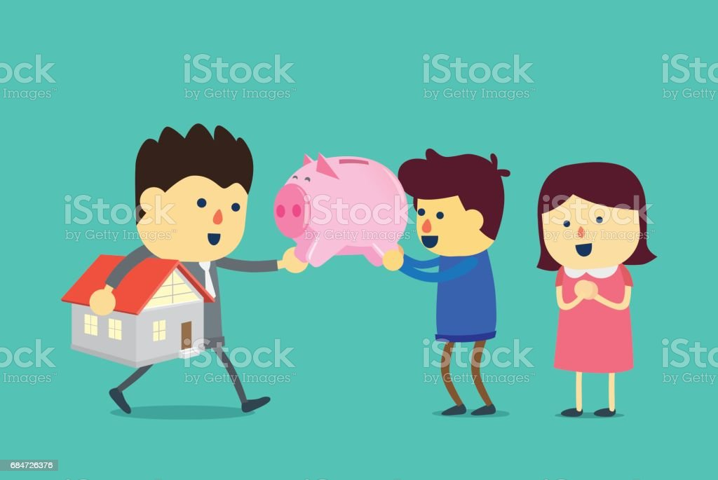 Husband and wife take a piggy bank to exchange for home. vector art illustration