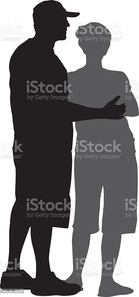 Husband With Arm Around Wife vector art illustration