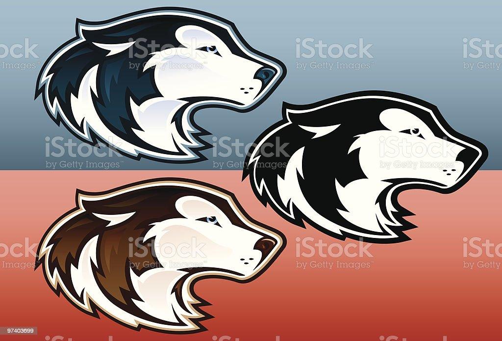 Husky Heads royalty-free stock vector art