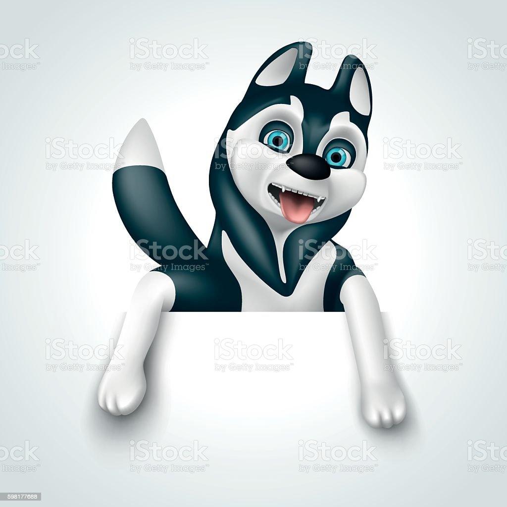 Husky holding a sign vector art illustration