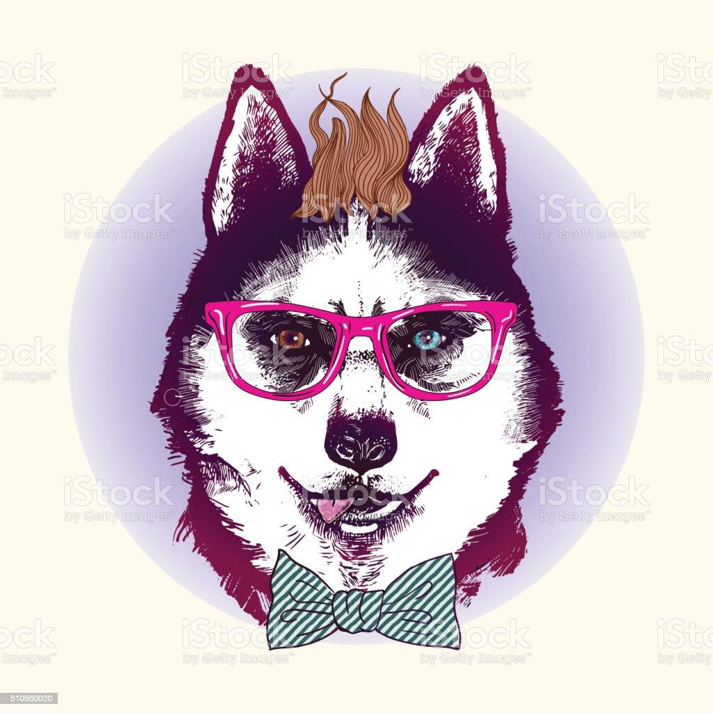 Husky in sunglasses. Fashion animal illustration vector art illustration