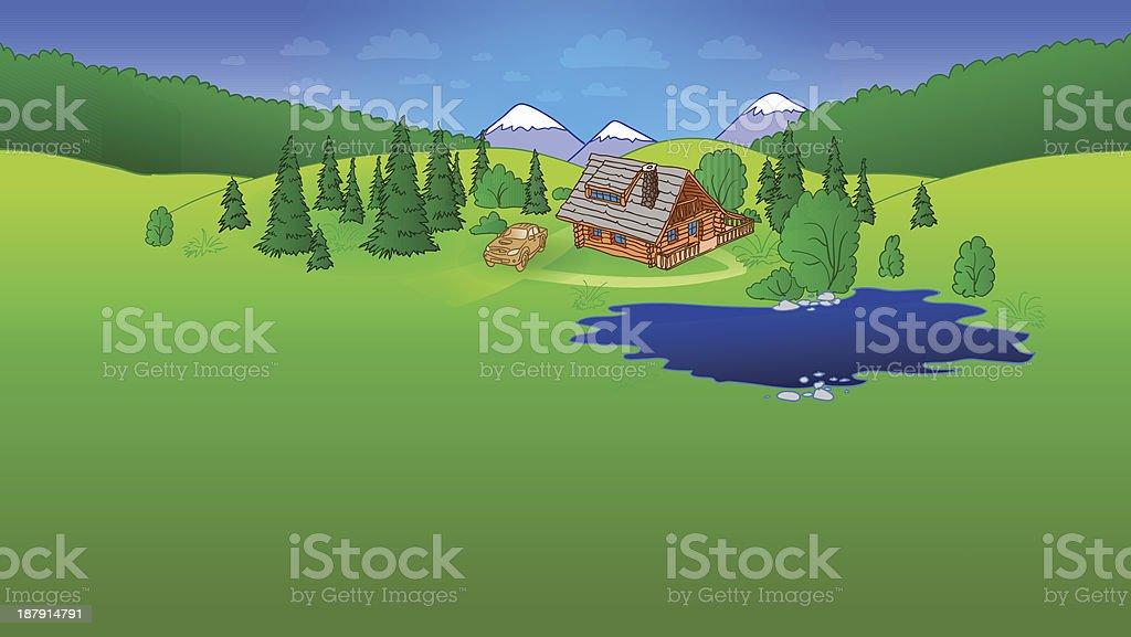 Hut in Forrest Scene royalty-free stock vector art
