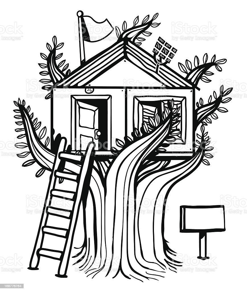 Hut in the tree vector art illustration