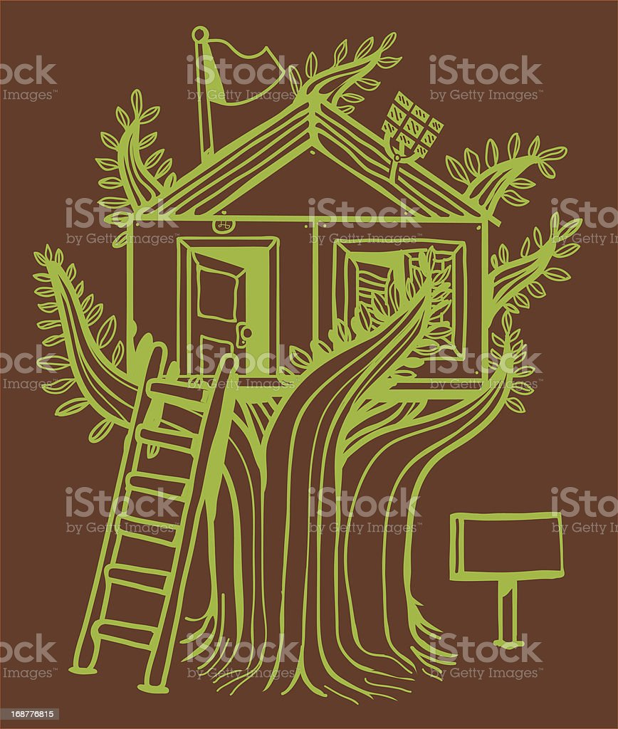 Hut in the tree royalty-free stock vector art
